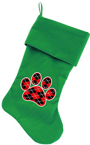 """Mirage Pet Products Argyle Paw Red Screen Print Velvet Christmas Stocking Green, 18"""""""