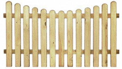 XycoX StaketenZaun 'Premium' 180x100/85 cm - unten – kdi / V2A Edelstahl Schrauben verschraubt - aus getrocknetem Holz glatt gehobelt – nach unten Gebogene Ausführung - kesseldruckimprägniert