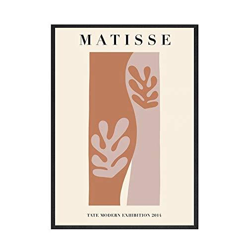 Carteles e impresiones de moda de Matisse letras abstractas color de la planta cuadros de arte de pared pintura de lienzo sin marco para el hogar A2 70x100cm