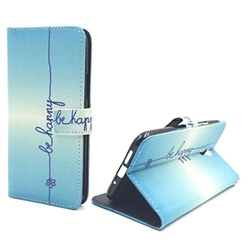 König Design Handyhülle Kompatibel mit Lenovo ZUK Z1 Handytasche Schutzhülle Tasche Flip Case mit Kreditkartenfächern - Be Happy Blau