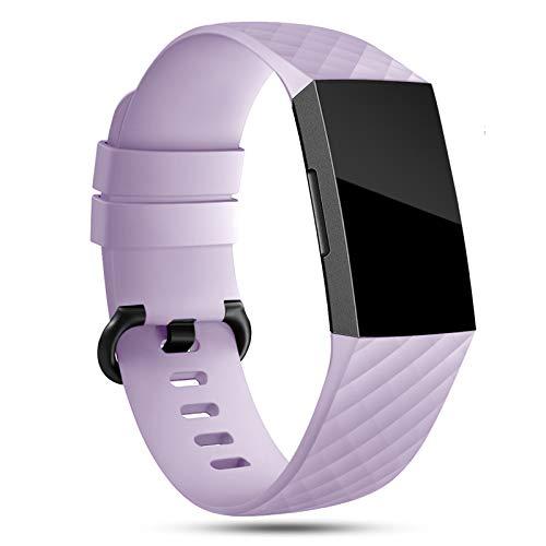 Onedream Compatibile per Fitbit Charge 3 Cinturini/Charge 4 Cinturino Donna Uomo Lavanda Sport Silicone Bracciale Accessori,S