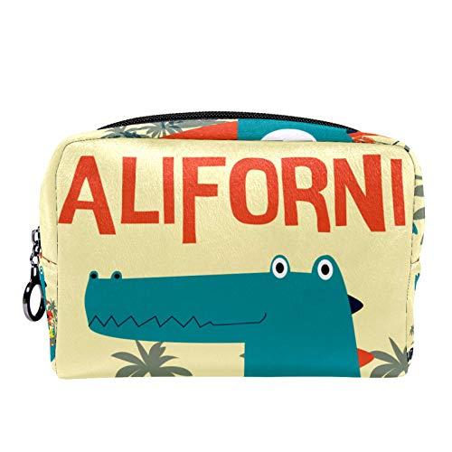 Kosmetiktasche Reise-Toilettenartikel für Frauen Tägliche tragbare Reißverschlusstasche mit Reißverschluss,Surfing Dude Crocodile