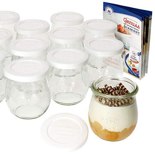 MamboCat 12er Set Weckgläser mit Frischhaltedeckel 220 ml I Original Weck Tulpenglas Dessertglas I Einweckgläser mit Deckel für Kuchen Gelees UVM I inkl. Diamant-Zucker Gelierzauber Rezeptheft