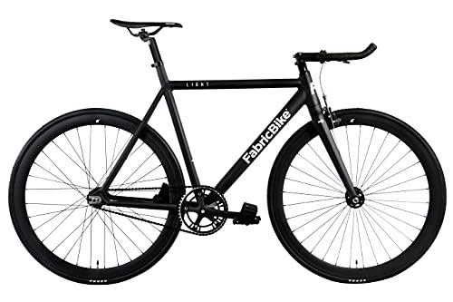 "FabricBike- Bicicleta Fixed, Fixie, Single Speed, Cuadro y Horquilla Aluminio, Ruedas 28"", 4 Colores, 3 Tallas, 9.45 kg Aprox. (Light Matte Black, L-58cm)"