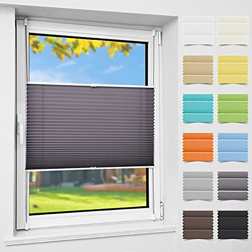 Easyfix Plissee Rollo Faltrollo ohne Bohren Klemmfix für Fenster Anthrazit 115x110cm (B x H) Plisseerollo Jalousie Fensterrollo mit Klemmträger für Fenster und Tür