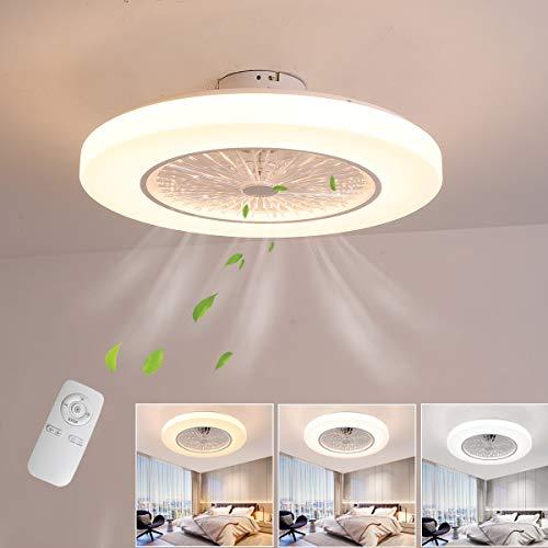 ZEKEI Ventilador de Techo Lámpara de Techo, Moderna 36W LED Ventilador De Techo Control Remoto de Correa Regulable Decoración de Interiores Plafón de Techo lluminación, Puede ser cronometrado