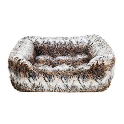 Rosewood Hundebett für mittelgroße Hunderassen, maschinenwaschbar, super weiches und kuscheliges Kunstfell, Tierdruck, 75 x 60 x 16 cm