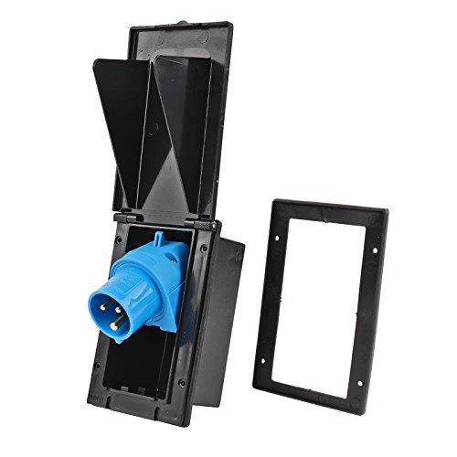 wamovo CEE Aussensteckdose schwarz Spritzwasser geschützt 200-250V, 16A, 3 polig