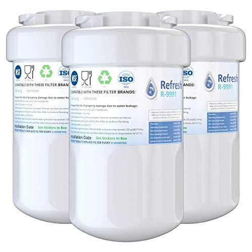 Refresh Replacement for GE Smatwater MWF GWF, MWFP, MWFA and Kenmore 46-9991, 469991, 9991 Refrigerator Water Filter (3-Pack)