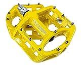 Evetin Ultra-Light Plattform Mountainbike/MTB/Flat Pedale, Magnesium Trekking Pedale Fahrrad mit Achsendurchmesser 9/16 Zoll für Universell BMX Mountain Bike Rennrad Trekkingrad 5051-1 (Gelb)