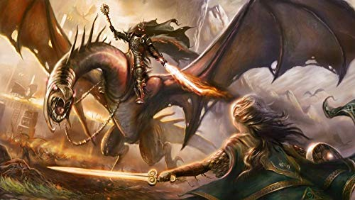 Zheng Puzzle 1000 Piezas Niños Para Adultos El Señor De Los Anillos Dragon Knight Sosteniendo Una Espada De Fuego - Rompecabezas De Pintura Al Óleo Juguete Educativo Decoraciones De Oficina En Casa