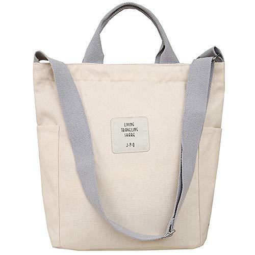 WANYIG Casual Handtasche Damen Chic Schultertasche Canvas Henkeltasche Schulrucksack Groß Umhängetasche Tasche Crossbody Bag Shopper (Weiß)