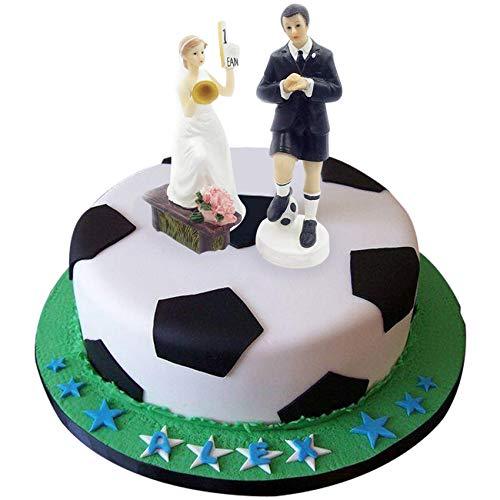 e-muse Fußball-Fan Braut und Bräutigam Hochzeits-Tortenfigur Cake Topper die Hochzeitstorte