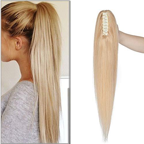SEGO Ponytail Extension Echthaar Pferdeschwanz Zopf Clip in Haarteil Haarverlängerung 100% Remy Haar mit Klammer Mittelblond#24 18