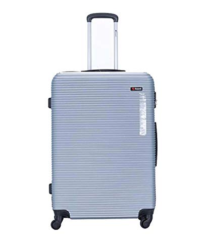 ABS/PC Hard Shell Ryanair EasyJet BA Approved 55 x 40 x 20cm Spinner Suitcases (Silver)