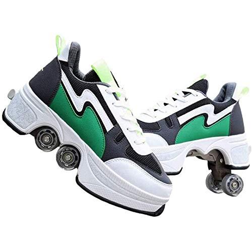 FYHCY Mehrzweckschuhe mit Rollen Schuhe mit Ausklappbaren Rollen, Rollschuhe Kinder Quad-Rollschuh-Stiefel Green,39.5