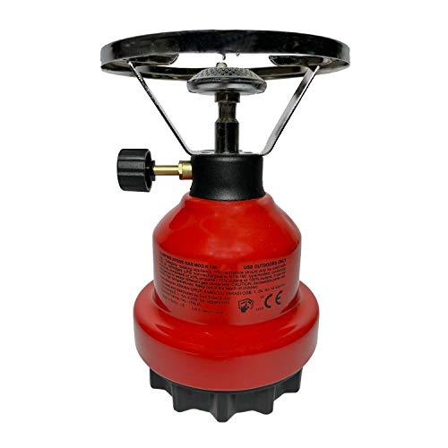 Hornillo de gas de camping con cartuchos estándar de 190 g.