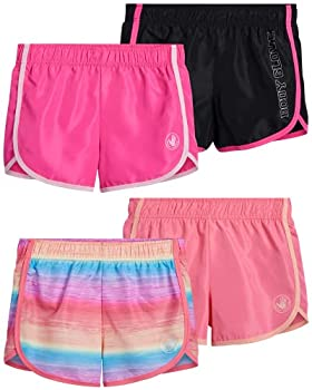 Body Glove Girls 4-Pack Athletic Gym Workout Yoga Dolphin Running Shorts  Tie-Dye/Coral/Pink/Black 7 / Small