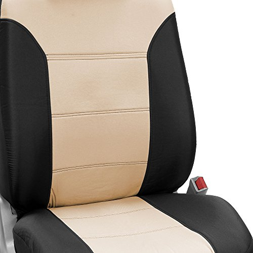 FH Group FB065217 Classic Khaki Seat Covers (Beige) 7 Passenger Set - Universal Fit for Cars, Trucks