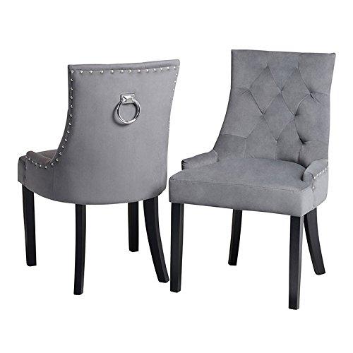 My-Furniture - 1 x Chaise de Salle à Manger avec Anneau au Dos - Gris fumée, piétement Finition Noire - Torino