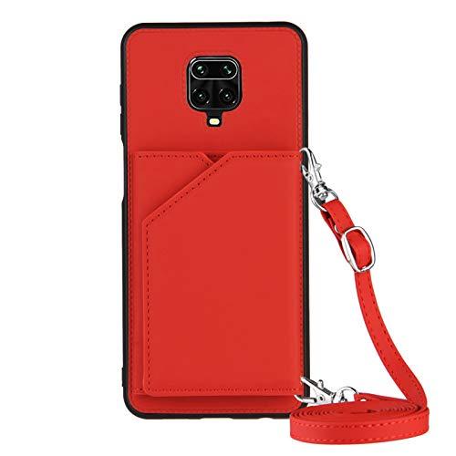 Funda para Xiaomi Redmi Note 9S / Note 9 Pro con Cuerda, Carcasa Cuero Premium PU Suave Case con Correa Colgante Ajustable Collar Correa de Cuello Cadena Cordón Ranuras para Tarjetas Anti-Choque Cover