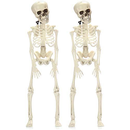 com-four® 2X Deko Skelett für Halloween - Skelett aus Kunststoff zum Hängen - Mini-Skelett mit Grusel-Faktor für Halloween, Fasching, Mottopartys (42cm - 2 Stück)