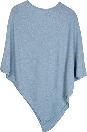 styleBREAKER Damen Feinstrick Poncho in Unifarben, leicht asymmetrischer Schnitt, Ärmellos, Rundhals 08010042, Farbe:Hellblau