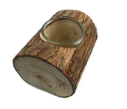 Vetrineinrete Portacandele in Corteccia a Forma di Tronco con vasetto in Vetro per Candele tealight candeliere in Legno Rustico Decorazione casa Shabby Chic A35