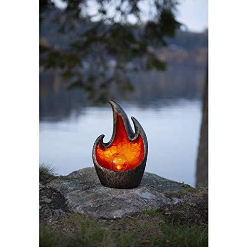 Kamaca LED SOLAR Gartenleuchte Tischleuchte Teichleuchte mit beleuchteter Acryl-Kugel mit 1 Bronze LED SOLARPANEL (Flamme Bronze)