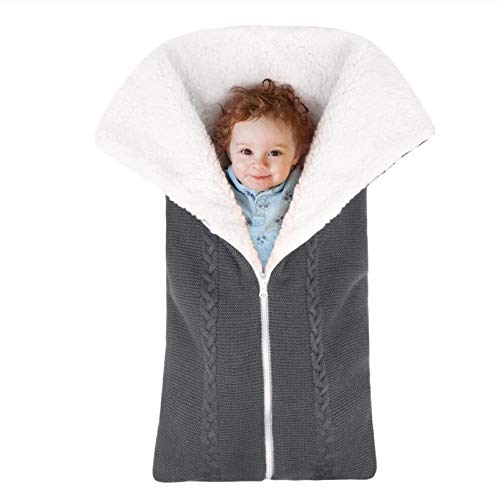 HJGKF Baby Multifunktionaler Schlafsack Reißverschluss Anti-Kick Quilt Gestrickter Schlafsack Baby Outdoor Kinderwagen Decke Winter Dick Gestrickt,Dunkelgrau