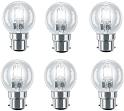 6 Pack Eco Halogen Mini Globes 28W (=35W-40W) BC B22 B22d Classic Clear Round Energy Saver Light Bulbs, Bayonet Cap, Golf Ball Dimmable Lamps, 340-370 Lumen, Mains 240V