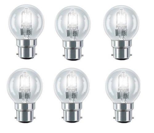 6 Pack Eco Halogen Mini Globes 28W (=35W-40W) BC B22 B22d Classic Clear...