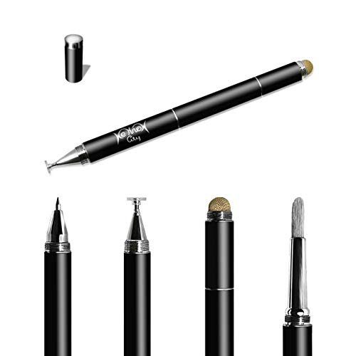 4-in-1 Art Stylus Pen for touch screens includes touch screen brush, mesh fiber tip, clear disc tip and ballpoint by We Know City (Black)