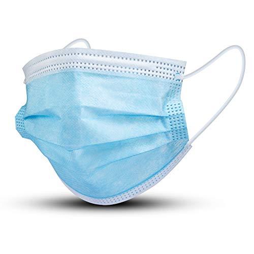 AHKIO Allgemeine Verwendung Einweg-Gesichtsmaske 3 lagig Mund-Nasen-Schutz, Atemschutz Gesundheits-und Hygienische (50 PCS-BLAU)