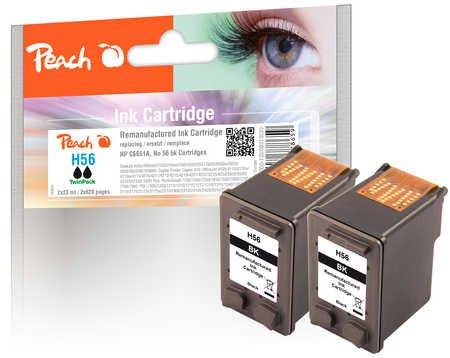 Peach Doppelpack Druckköpfe schwarz kompatibel zu HP No. 56, C6656AE