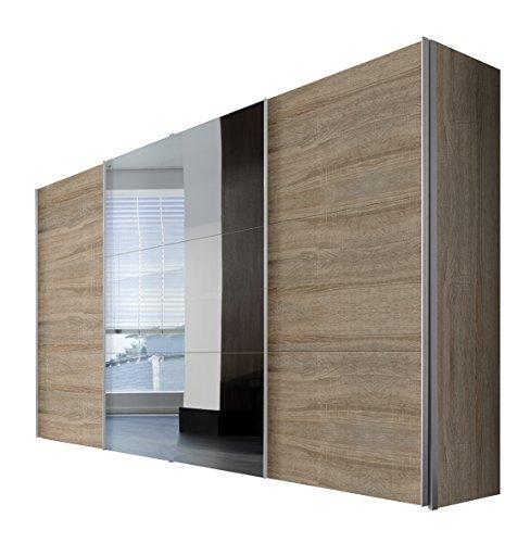 Express Möbel 45000-760 Solutions Schwebetürenschrank, 3-türig, 350 x 216 x 58 cm, Sonoma-Eiche / Spiegel, Blenden und Griffleisten alufarben