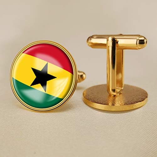 YYOBK Boys' Cuff Links,Men's Cuff Links,Shirt Studs,Sports Fan Cuff Links,Ghana Flag Cufflinks,Round Cufflinks, Copper 19mm (Color : Gold, Size : 19mm)
