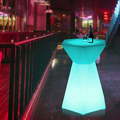 [Magshion] Hexagonal LED Light Up Accent Side Table Pub Night Club Stools Bar Lounge Cocktail Table
