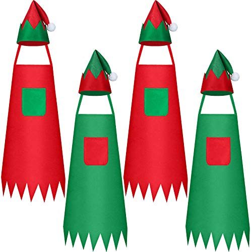 Juego de 8 Piezas Delantales y Gorros de Duende Navideño, Incluye 4 Delantales de Tela de Duende Navideño y 4 Sombreros de Elfo, Delantal de Papá Noel Gorro de Navidad Santa para Navidad