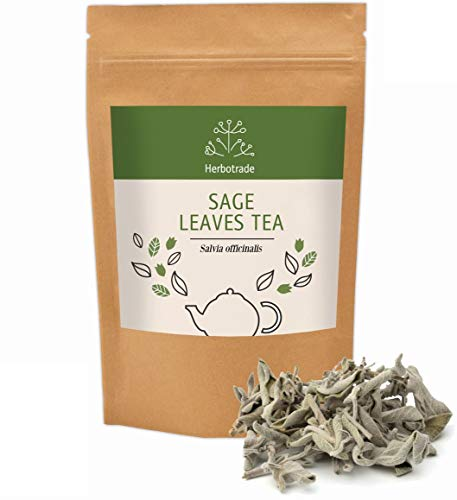 100% Pure Sage Officinalis (Salvia officinalis) dried leaves Natural Wildcrafted Herbal Tea (Loose) 3 oz / 90gr by Teliaoils in Resealable Pouch