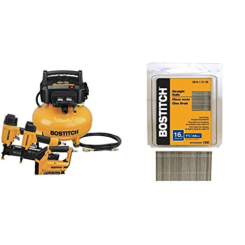 BOSTITCH Air Compressor Combo Kit, 3-Tool (BTFP3KIT) & Finish Nails, Bright, 1-3/4-Inch, 16GA, 1000-Per Box (SB16-1.75-1M)