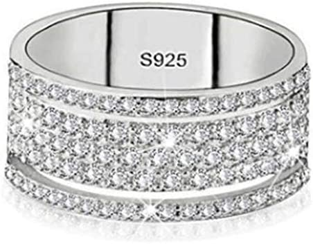 Brishow Wedding Statement Ring Silver Eternity Promise Band Rings Engagement Band Stainless product image
