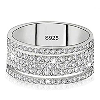 Brishow Wedding Statement Ring Silver Eternity Promise Band Rings Engagement Band Stainless Steel Crystal Cubic Zirconia CZ Bands for Women and Girl  Size 7
