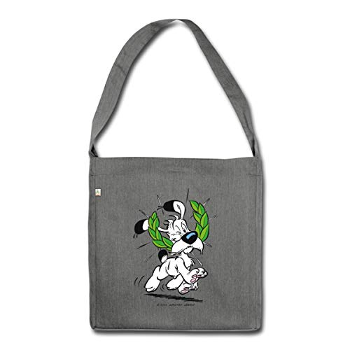 Spreadshirt Asterix & Obelix Idefix Mit Lorbeerkranz Schultertasche aus Recycling-Material, Dunkelgrau meliert