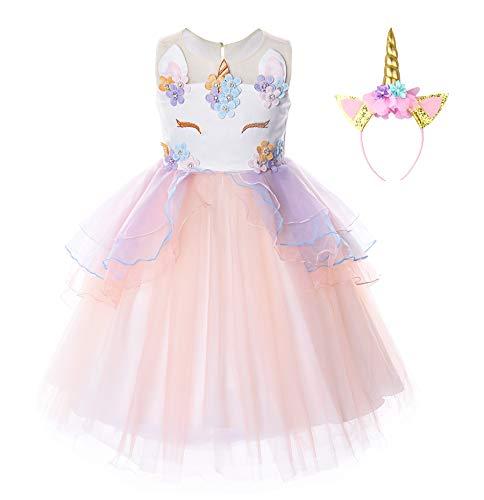 JerrisApparel Disfraz Unicornio Niña Volantes Flor Boda Partido Princesa Vestido (7-8 años, Naranja)