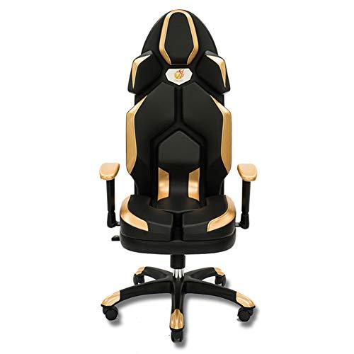 Silla Gaming, Oficina Escritorio Silla con Ruedas Sillas De Juveniles, PC Despacho Ergonomica Chair, SillóN Reclinable Giratorio Elevable Ajustable De 130 °,Oro
