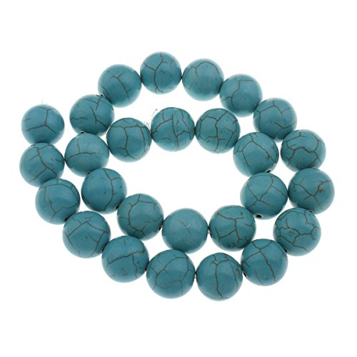 29 Turquoise Gemstone Beads 14 mm Round Ball Natural Stone Pearl Necklace Semi-Precious Stone Gemstone String Jewellery Beads for DIY Chain Crafts G575