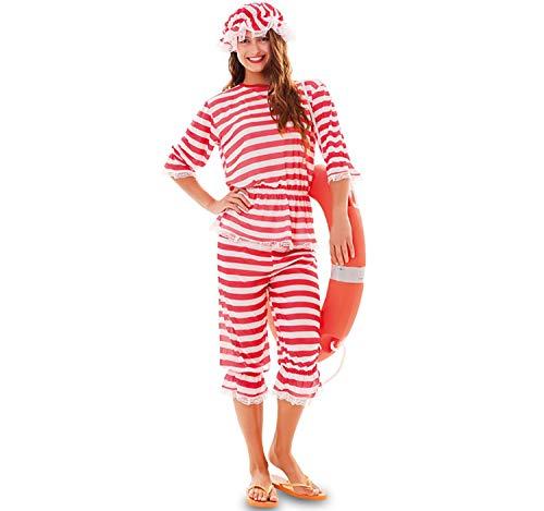 EUROCARNAVALES Erwachsen Kostüm Retro Badeanzug rot-weiß gestreift, wahlweise mit Haube, Beachparty Karneval (Damen-46)