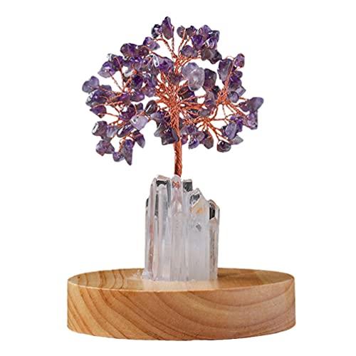 Holibanna LED da Árvore do Dinheiro da Pedra Preciosa: Árvore Natural da Vida Pedra de Chacra Árvore de Cristal Chinesa Feng Shui Decoração de Mesa com Base para Cura Luck Christmas Holiday Gifts (Roxo)