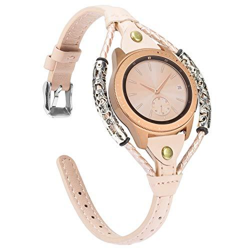 Glebo Correa de piel compatible con Samsung Galaxy Watch 42 mm/Active 40 mm/Active 2 (40 mm/44 mm)/Watch 3 41 mm para mujer, 20 mm vintage, correa de repuesto para Samsung Gear Sport, color beige